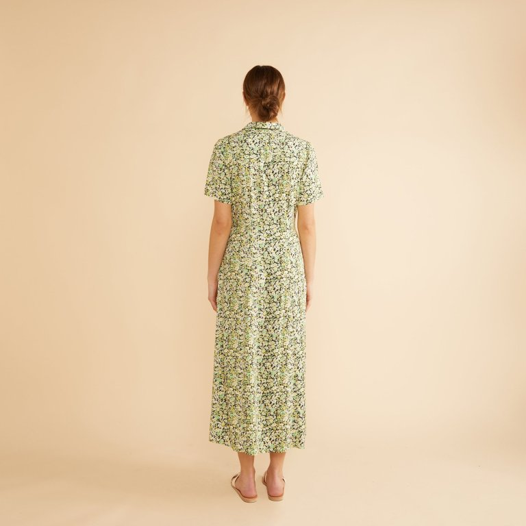 Albaray Sketch Floral Midi Shirt Dress back view