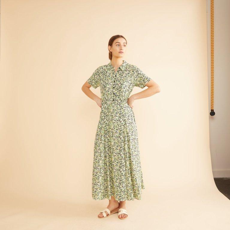 Albaray Sketch Floral Midi Shirt Dress