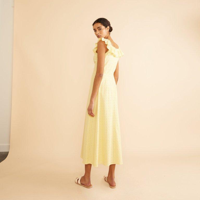 Albaray Yellow Embroidered Ruffle Neck Midi Dress back view
