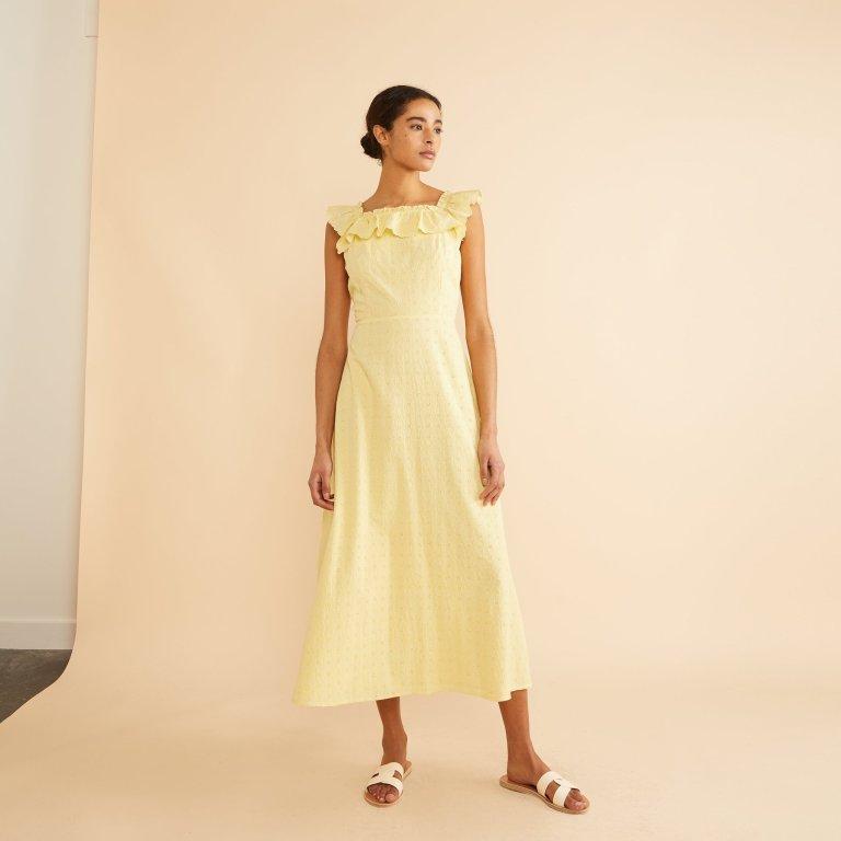 Albaray Yellow Embroidered Ruffle Neck Midi Dress
