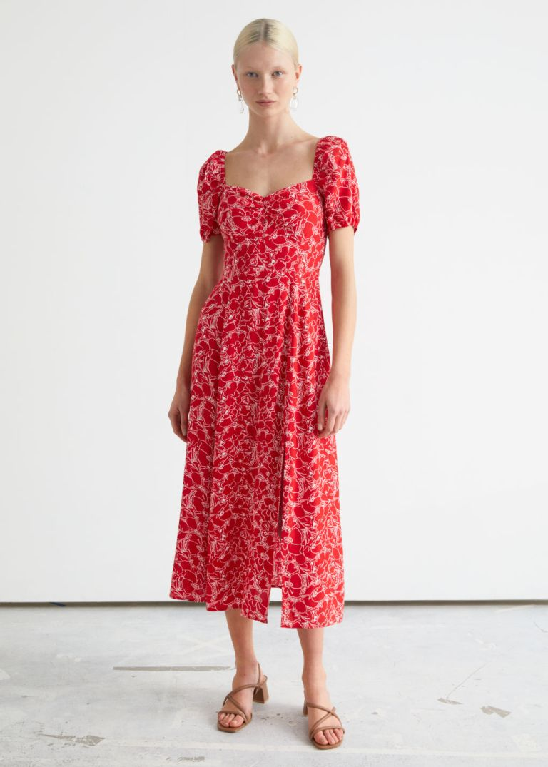 And Other Stories Flowy Puff Sleeve Midi Dress red