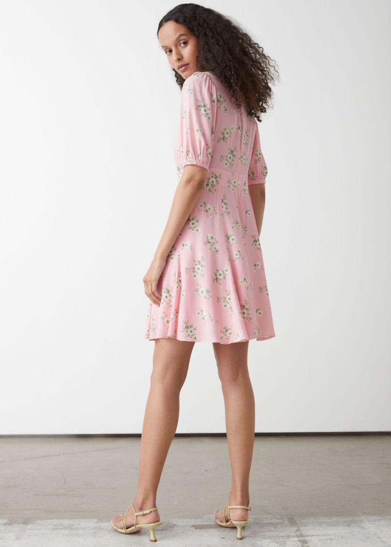 And Other Stories Puff Sleeve Mini Dress back view