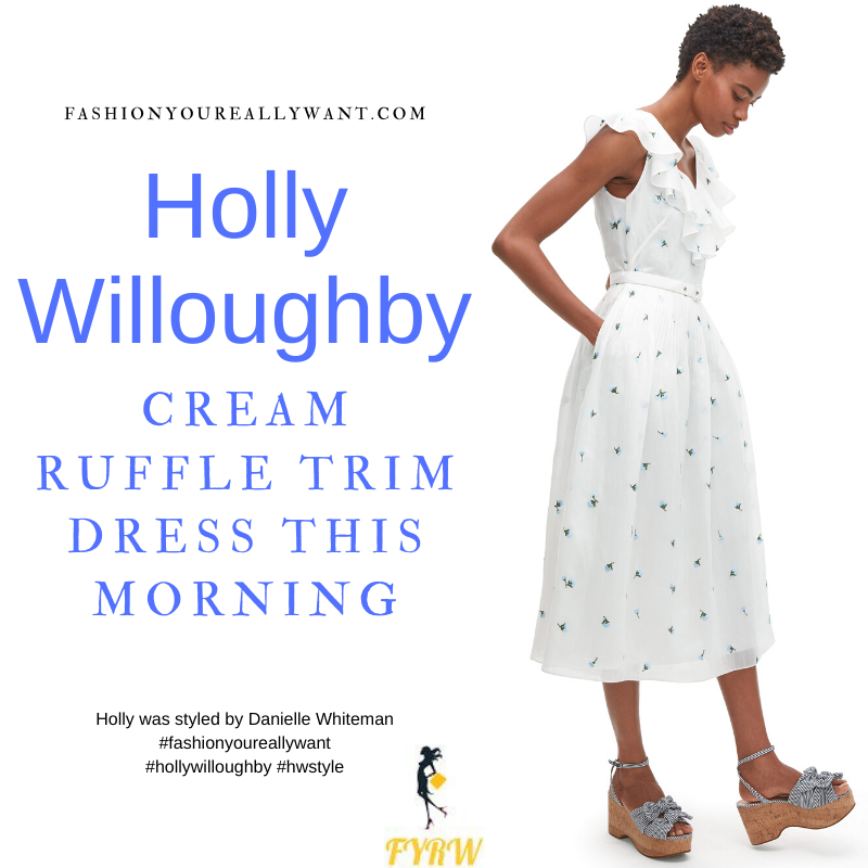 Where to get all Holly Willoughby This Morning outfits blog June 2021 white cream sleeveless dress neck ruffle floral embroidery nude suede sandals