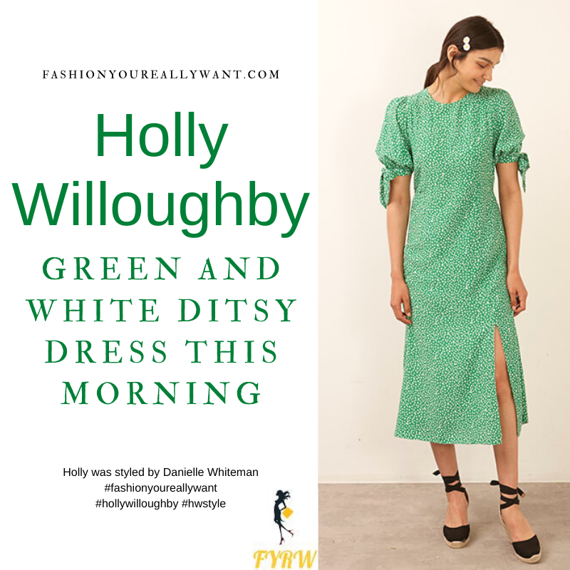 Where to get all Holly Willoughby This Morning outfits blog June 2021 green and white short sleeve ditsy midi dress nude suede court shoes