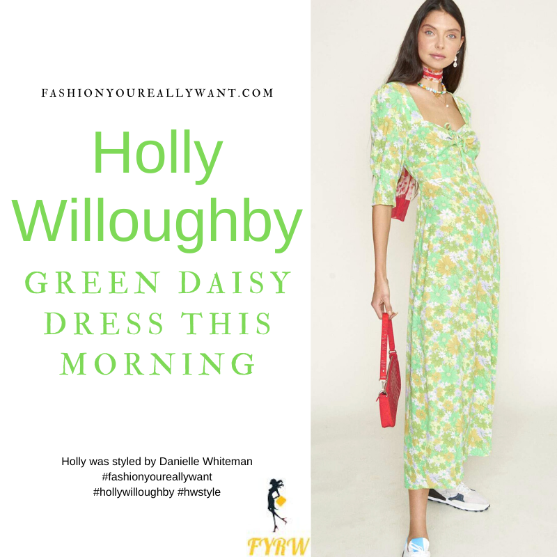 Where to get all Holly Willoughby This Morning outfits blog June 2021 green floral sweetheart neck midi dress white strappy wedges