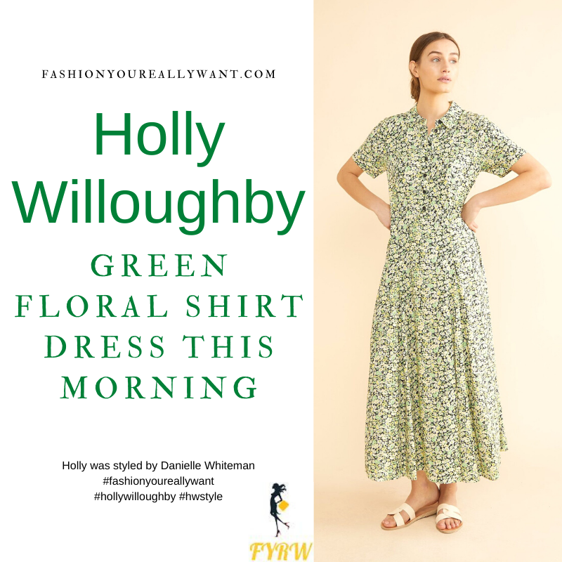 Where to get all Holly Willoughby This Morning outfits blog June 2021 green floral midi shirt dress black belt black suede sandals
