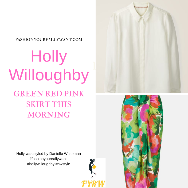 Where to get all Holly Willoughby This Morning outfits blog June 2021 green pink red abstract midi skirt ivory shirt blouse nude suede sandals