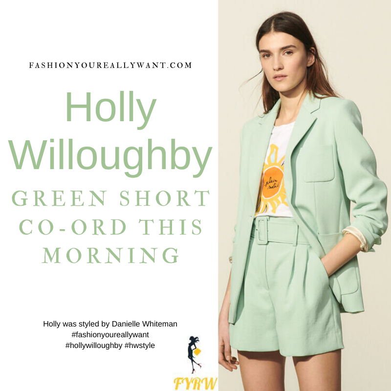 Where to get all Holly Willoughby This Morning outfits blog June 2021 green jacket and belted shorts cream blouse nude suede sandals