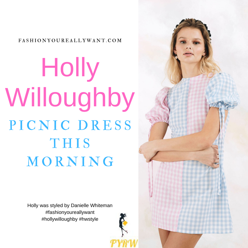 Where to get all Holly Willoughby This Morning outfits blog June 2021 pink and blue gingham colour block short sleeve mini dress nude suede sandals