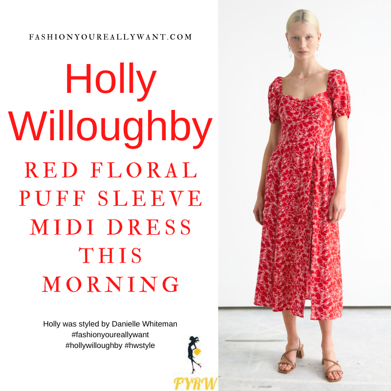 Where to get all Holly Willoughby This Morning outfits blog June 2021 red and white floral puff sleeve midi dress nude suede court shoes