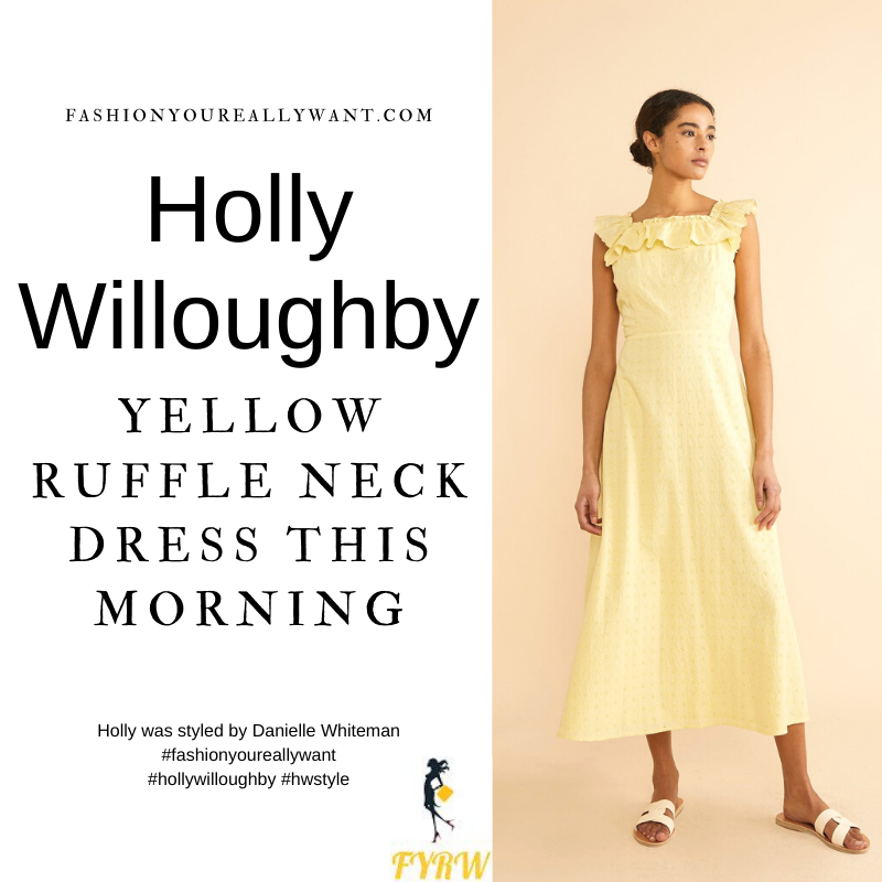 Where to get all Holly Willoughby This Morning outfits blog June 2021 yellow square neck ruffle dress nude suede sandals