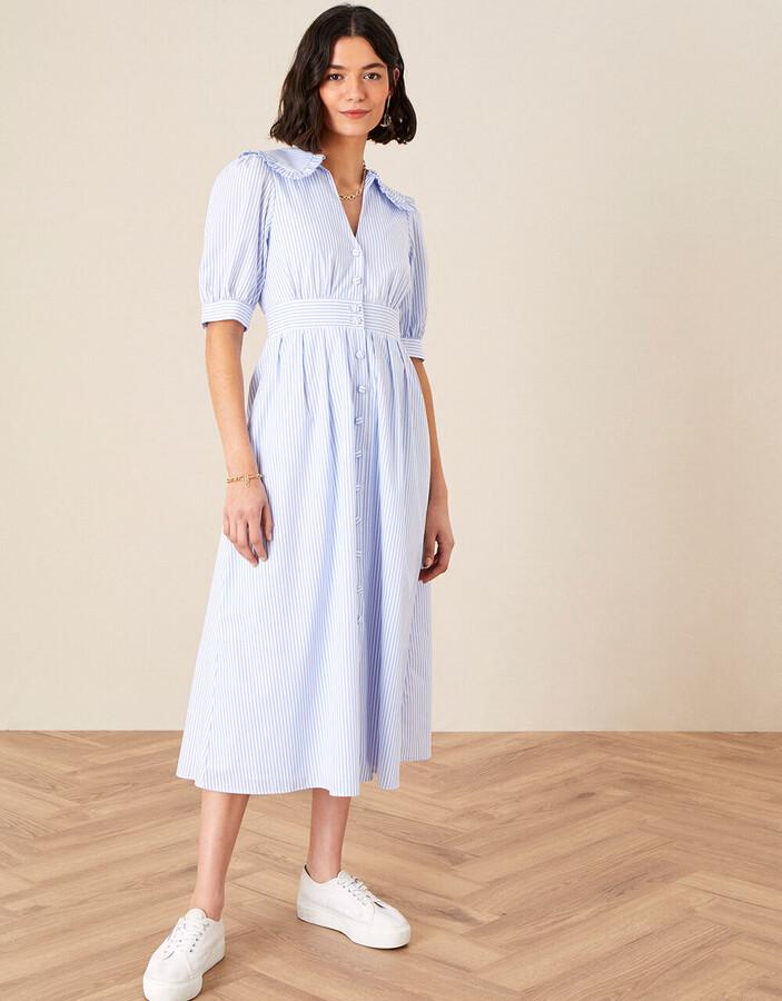 Monsoon Frill collar stripe poplin dress v2