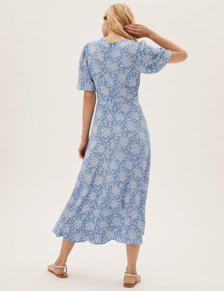 M&S Floral Puff Sleeve Midaxi Tea Dress Blue Mix back view