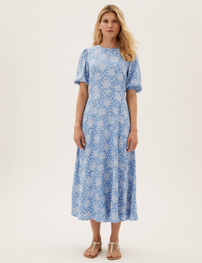 M&S Floral Puff Sleeve Midaxi Tea Dress Blue Mix
