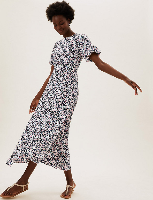 M&S Floral Puff Sleeve Midaxi Tea Dress