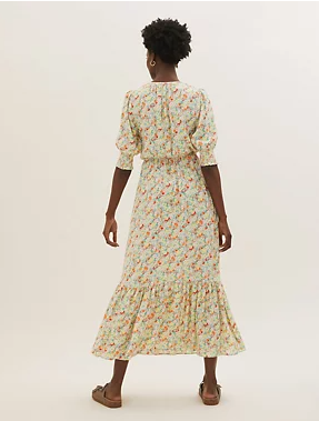 M&S Floral round Neck Midaxi Waisted Dress back view