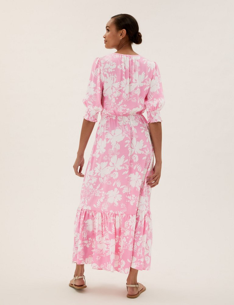 M&S Floral Round Neck Midaxi Waisted Dress pink back view