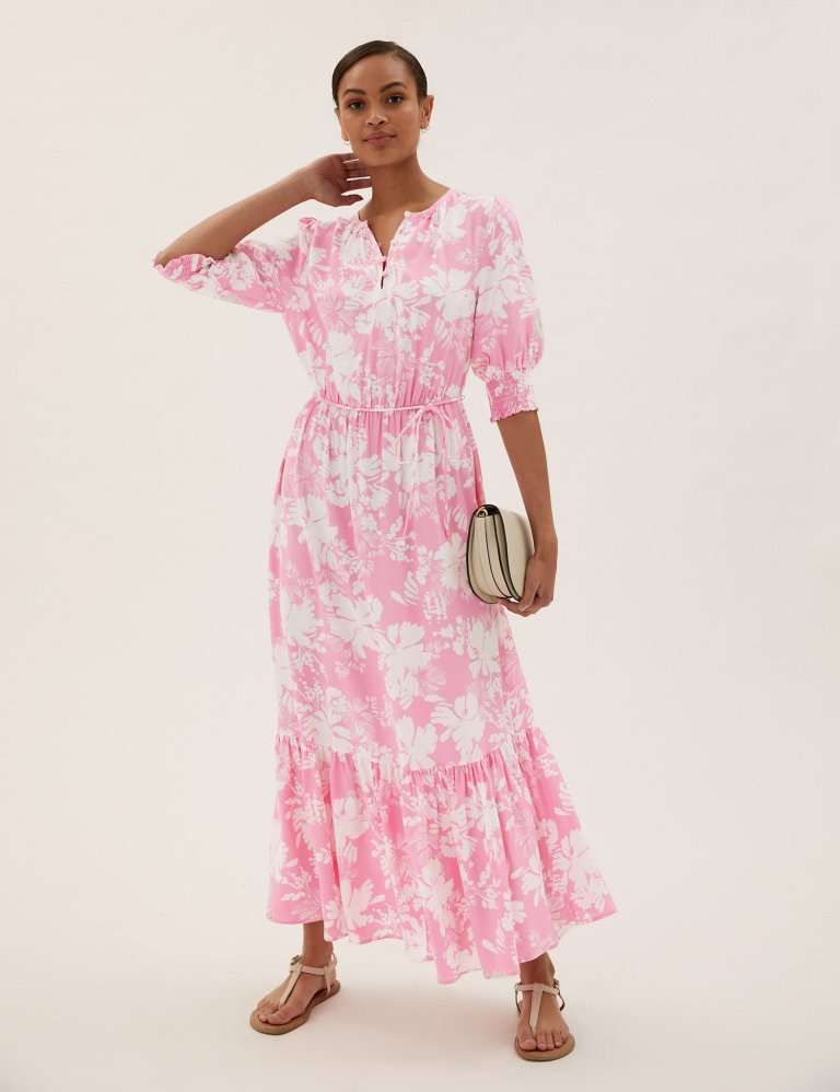 M&S Floral Round Neck Midaxi Waisted Dress pink