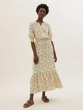 M&S Floral round Neck Midaxi Waisted Dress