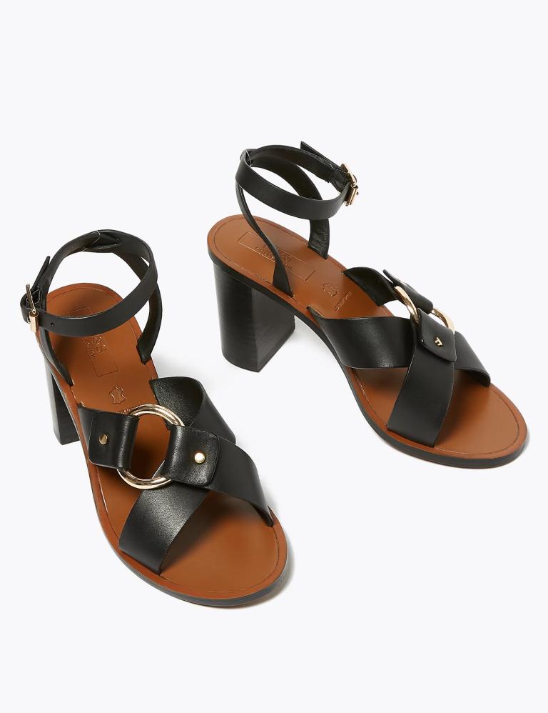 M&S Leather Ring Detail Block Heel Sandals black