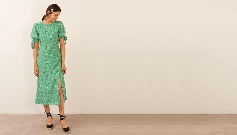 Nobodys Child Green and White Ditsy Esme Midi Dress