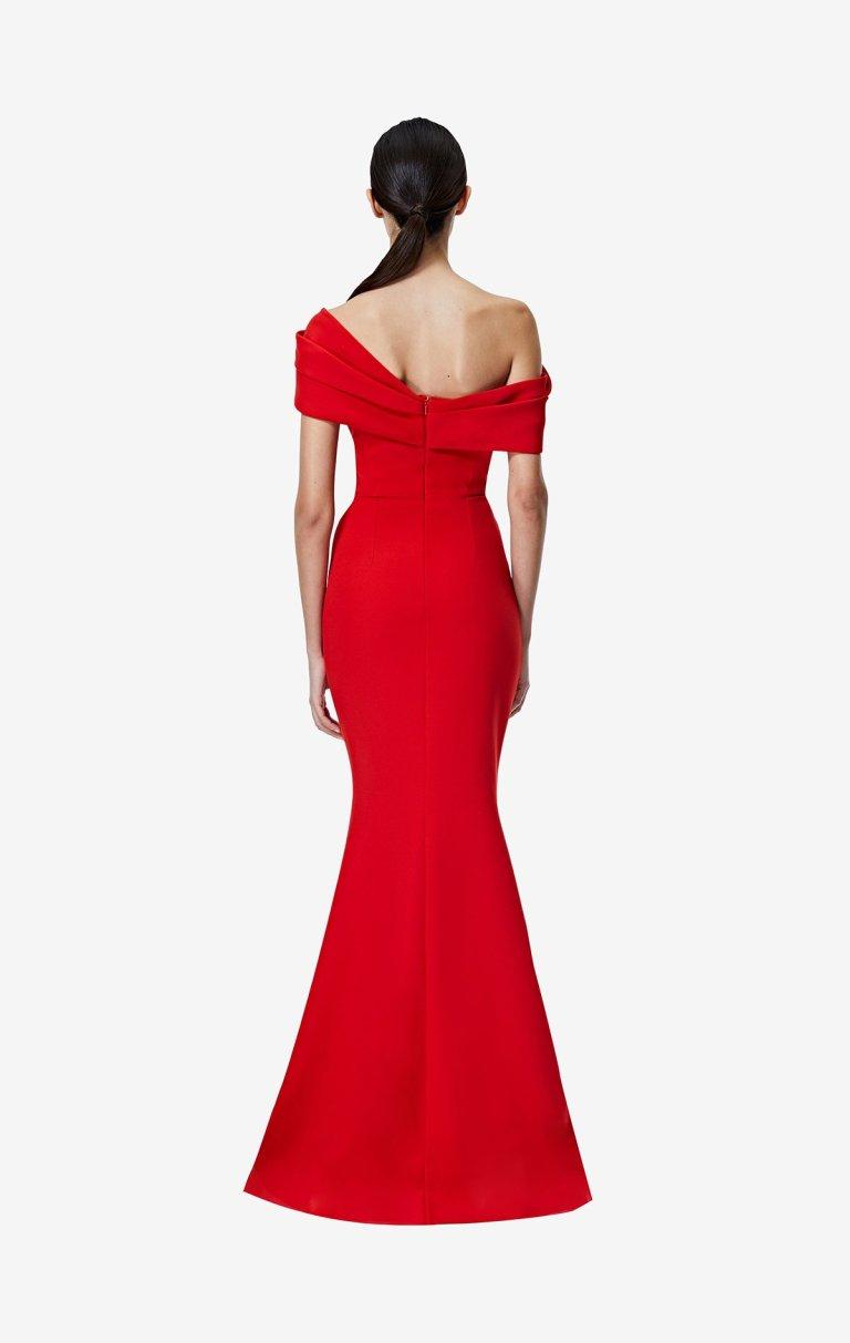 Safiyaa Rosa Dazzling Red Long Dress back view