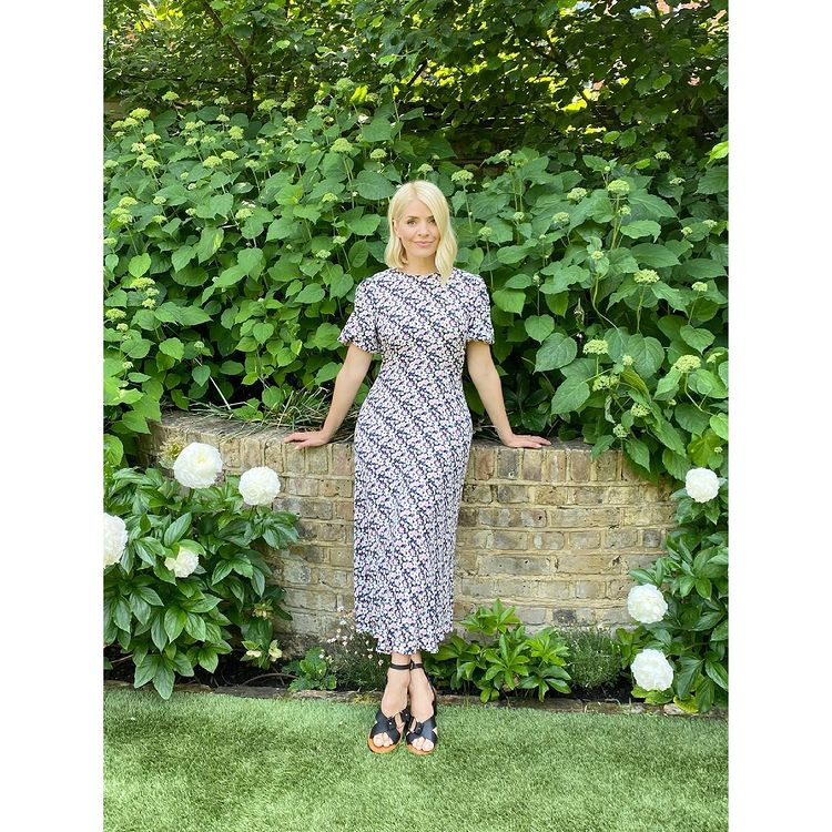 where to get all Holly Willoughby dresses multi puff sleeve floral midaxi dress black sandals 18 June 2021 Photo M&S