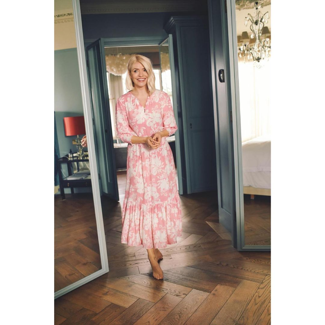where to get all Holly Willoughby dresses pink and white midaxi dress 15 June 2021 Photo Holly Willoughby