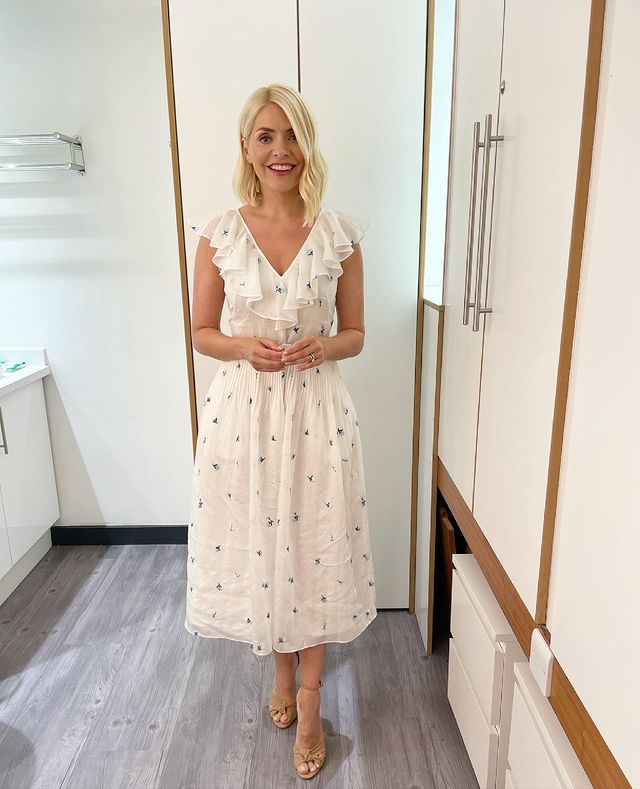 where to get all Holly Willoughby This Morning dresses cream embroidered frill neck dress nude suede sandals 14 June 2021 Photo Holly Willoughby