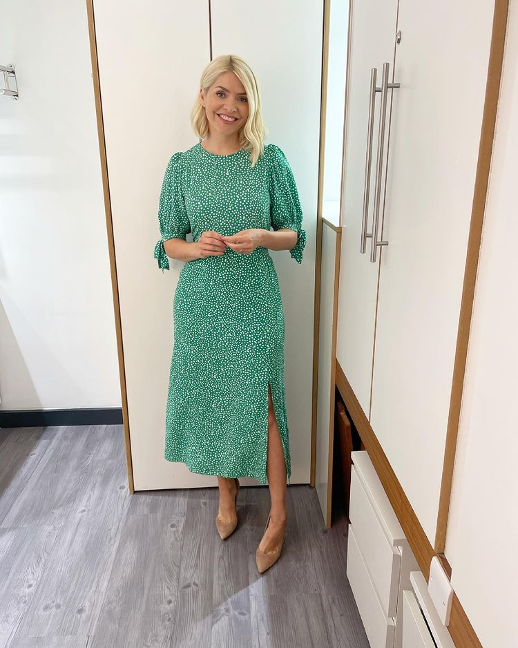 where to get all Holly Willoughby This Morning dresses green and white ditsy dress nude suede court shoes 21 June 2021 Photo Holly Willoughby