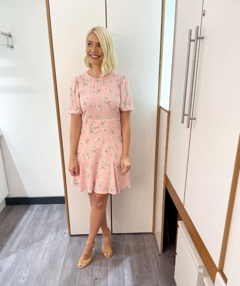 where to get all Holly Willoughby This Morning dresses pink foral puff sleeve mini dress nude suede sandals 1 July 2021 Photo Holly Willoughby