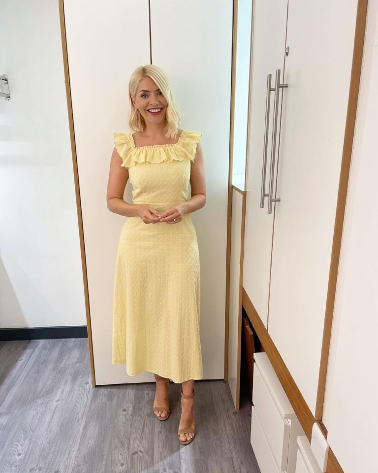 where to get all Holly Willoughby This Morning dresses yellow square neck ruffle dress nude suede sandals 16 June 2021 Photo Holly Willoughby