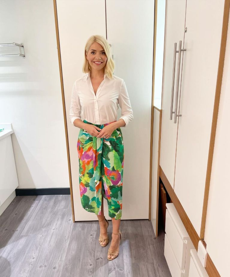 where to get all Holly Willoughby This Morning outfits green red pink skirt ivory shirt nude suede sandals 15 June 2021 Photo Holly Willoughby