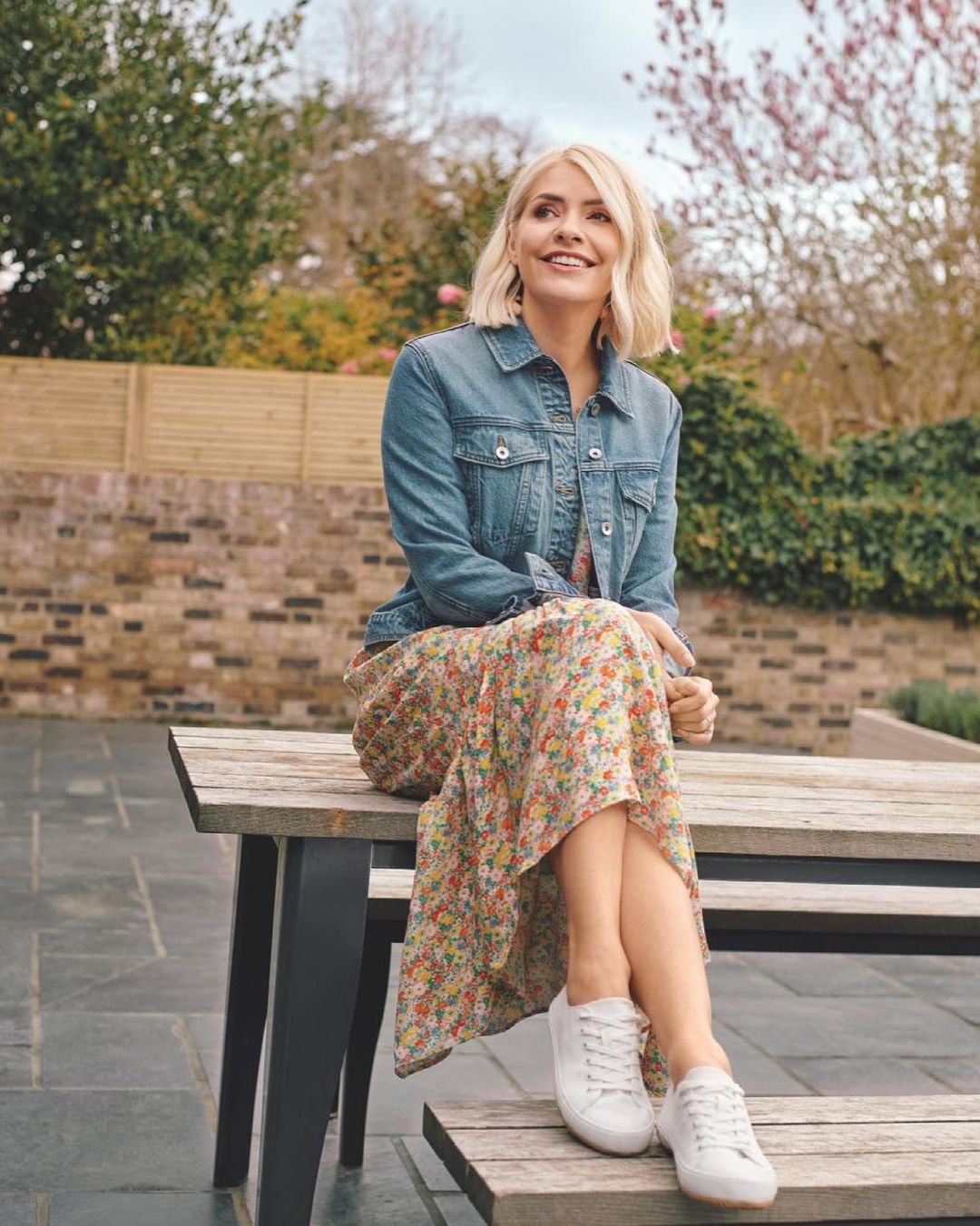 where to get Holly Willoiughby floral midaxi dress denim jacket white trainers 3 June 2021 Photo M&S