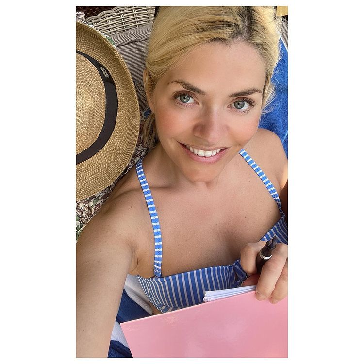 where to get Holly Willoughby blue and white striped chevreon bikini 12 June 2021 Photo Holly Willoughby