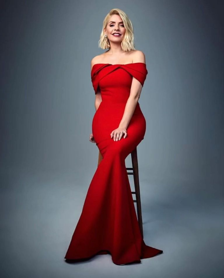 where to get holly Willoughby red off the shoulder dress The Times 5 June 2021 Photo Robert Wilson