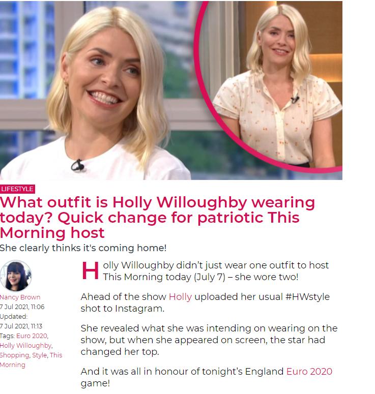 Entertainment Daily Holly Englan shirt article