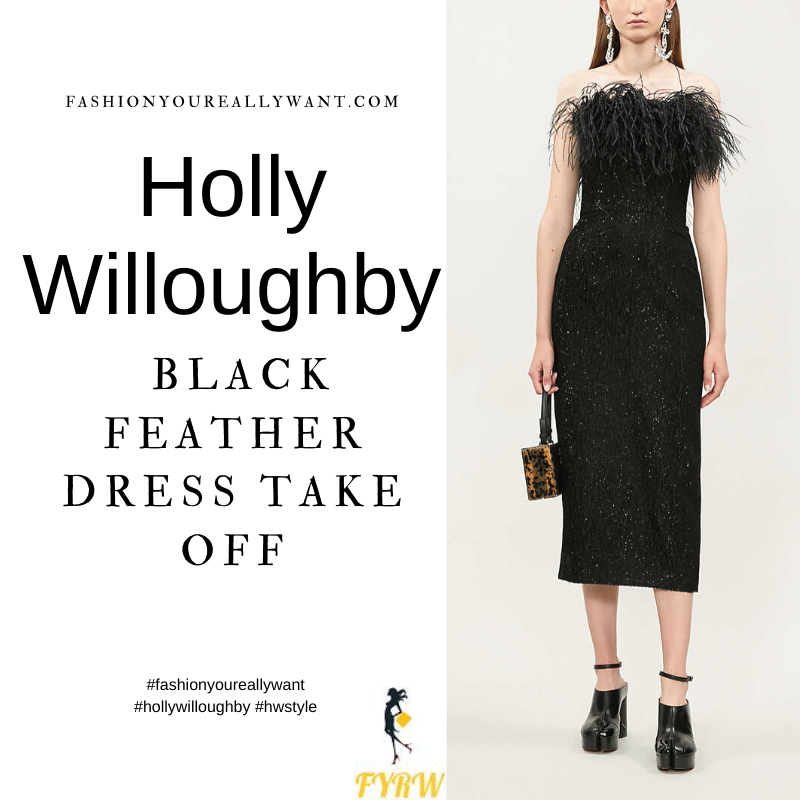 Where to get all Holly Willoughby Take Off outfits dresses blog July 2021 black feather trimmed strapless metallic dress clear and black court shoes