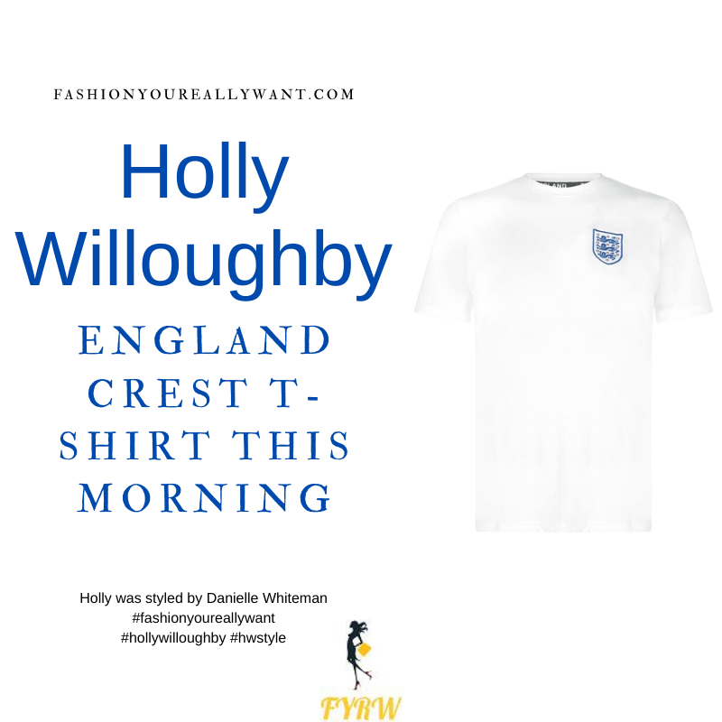 Where to get all Holly Willoughby This Morning outfits dresses blog July 2021 FA England Crest T Shirt Mens 3 Lions