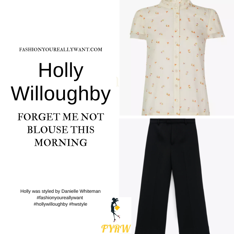 Where to get all Holly Willoughby This Morning outfits dresses blog July 2021 cream floral blouse black culottes black suede court shoes