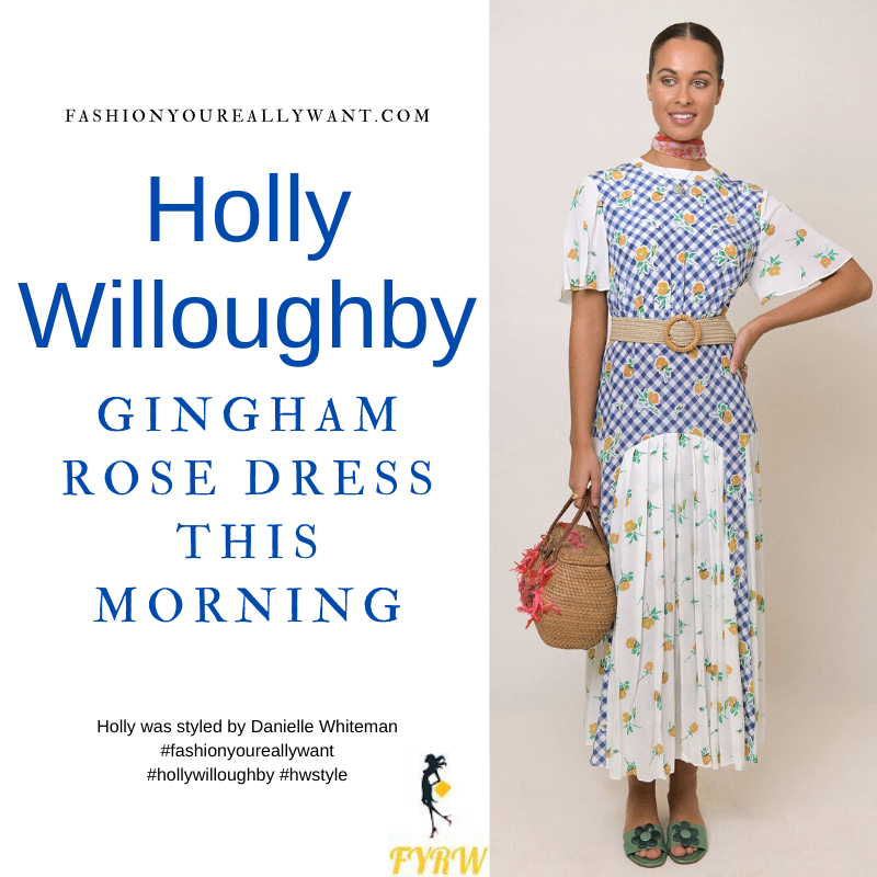 Where to get all Holly Willoughby This Morning outfits dresses blog July 2021 blue and cream gingham yellow rose midi dress nude suede court shoes