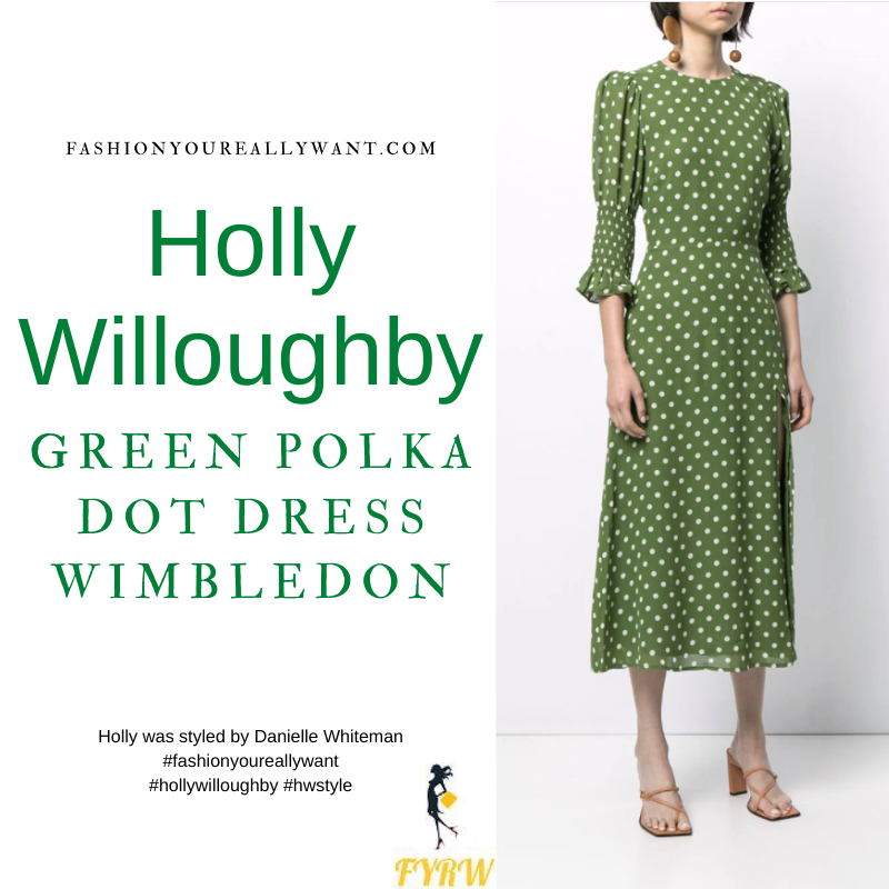 Where to get all Holly Willoughby outfits dresses blog July 2021 green and white polka dot dress cream espadrilles cream trench coat cream croc handbag Wimbledon