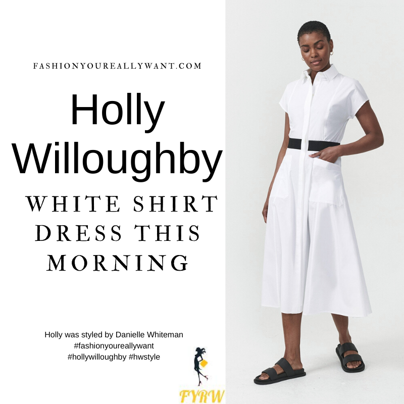 Where to get all Holly Willoughby This Morning outfits dresses blog July 2021 white shirt dress with black waistband black strappy wedges