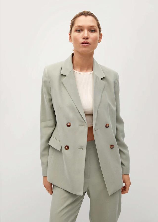 Mango Patterned Suit Blazer