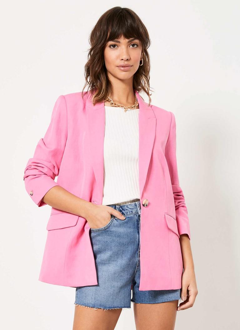 Mint Velvet Pink Single Breasted Blazer