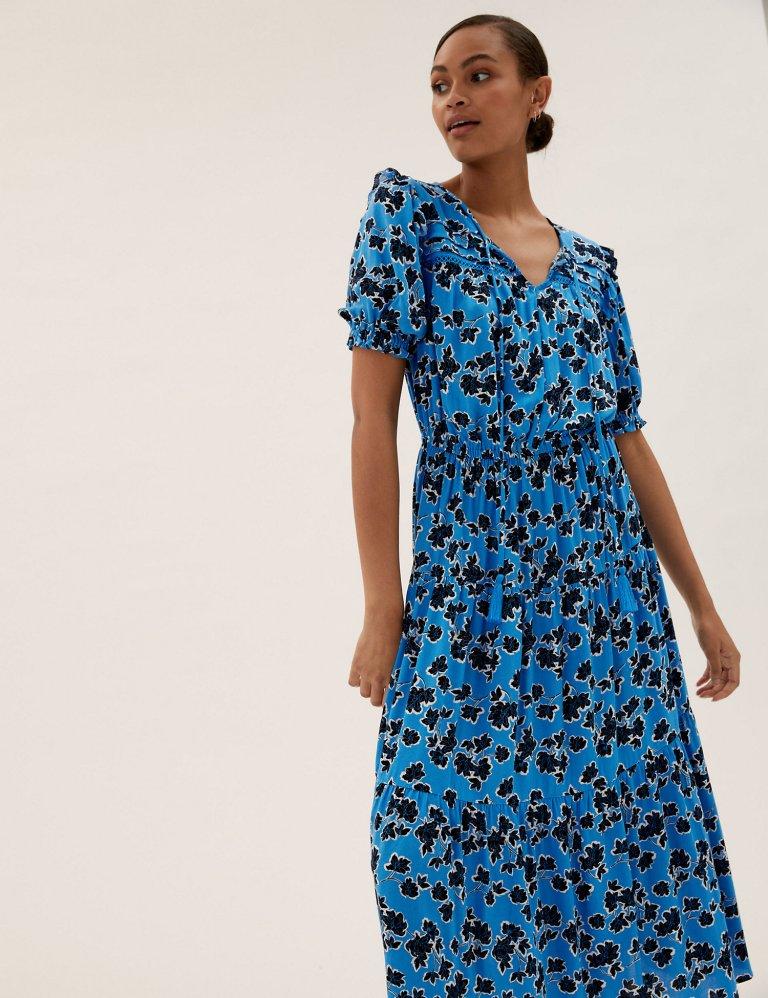 M&S Floral Tie Neck Midi Waisted Dress blue mix