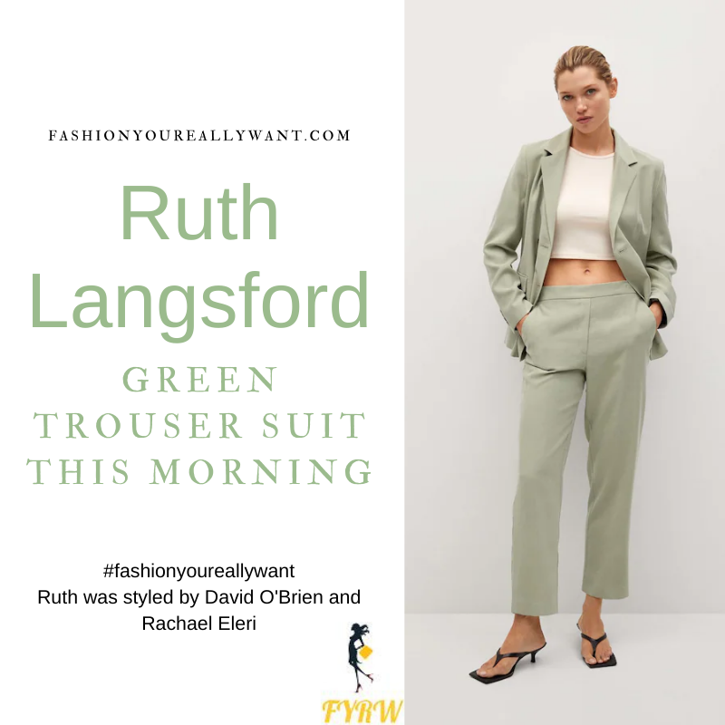 Where to get all Ruth Langsford This Morning outfits blog July 2021 green trouser suit white t-shirt tan sandals
