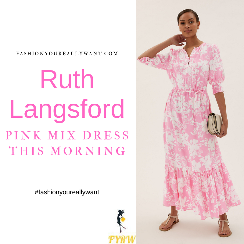 Where to get all Ruth Langsford This Morning outfits blog July 2021 pink and white floral midaxi dress