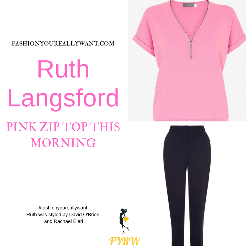Where to get all Ruth Langsford This Morning outfits blog July 2021 pink zip top navy trousers pink court shoes