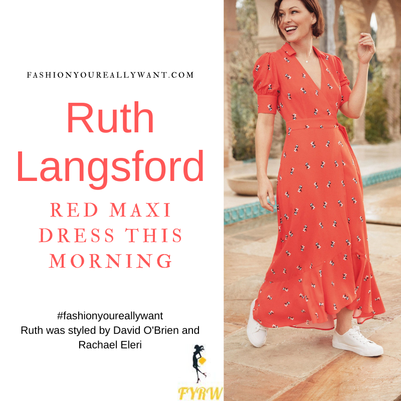 Where to get all Ruth Langsford This Morning outfits blog July 2021 red maxi wrap dress tan wedges